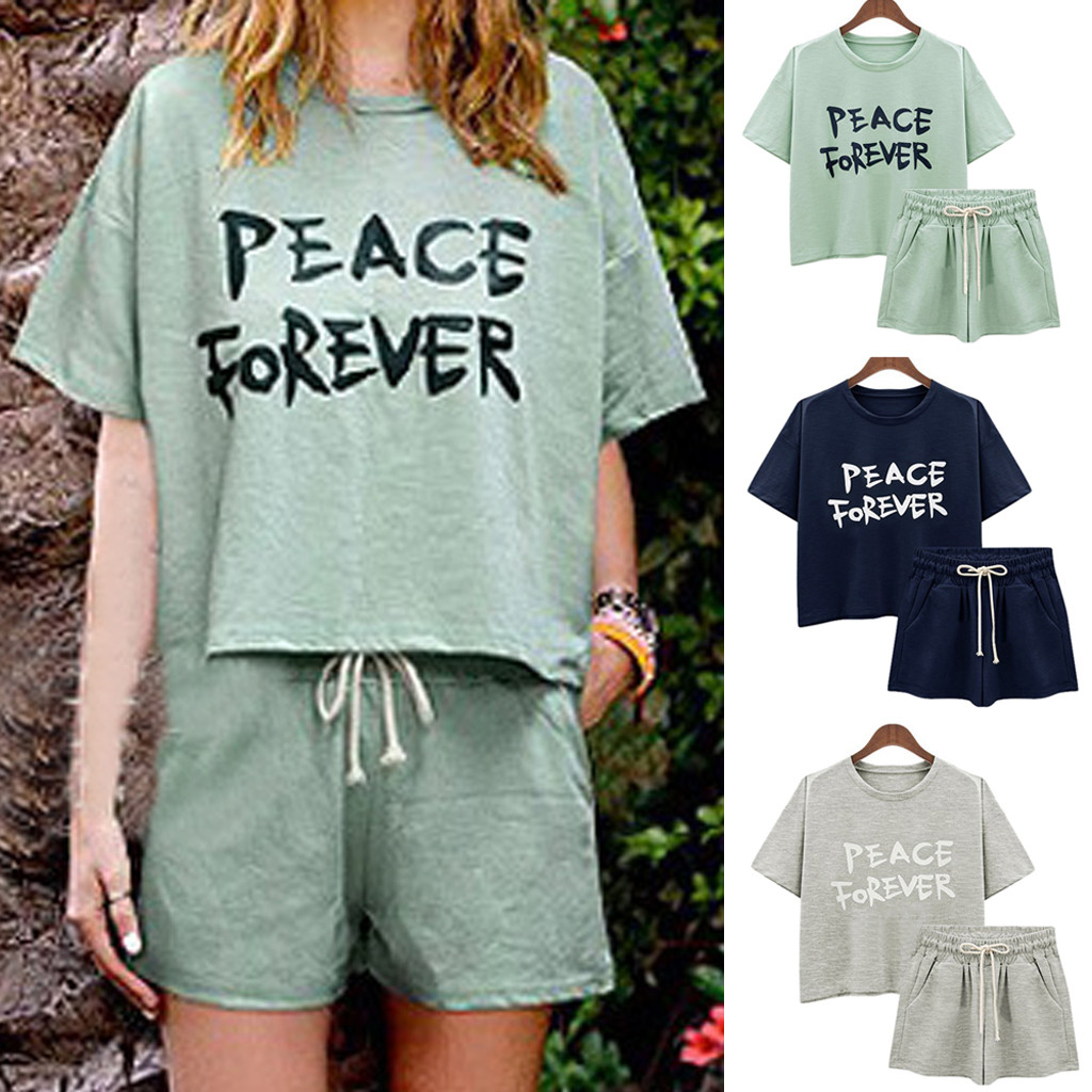 Women 2 Pcs Sexy Set Casual Loose O-Neck Short Sleeve Solid Color Tops And Pants Beachwear Holiday Home Two Piece Set ClothingFC