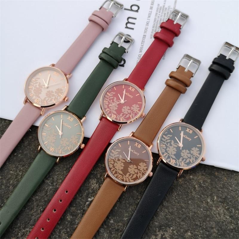 Elegant Flower Design Watches Women Fashion Casual Leather Wristwatches Luxury Ladies Watch Female Clock Woman Quartz Watch