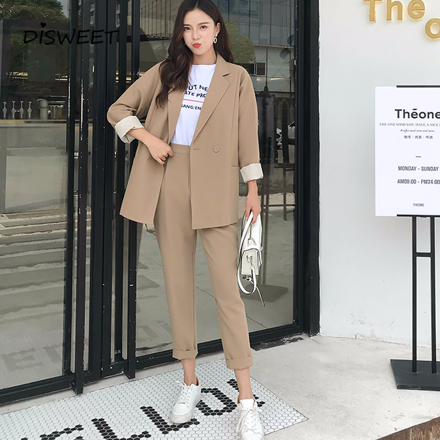 DISWEET Harajuku Casual Suits Solid Women Pant Notched Collar Blazer Jacket & Pencil Pant Simple Female Suit 2019 High Quality