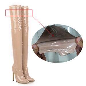 Image 3 - 2021 botas de salto alto sobre o joelho botas femininas estiramento coxa botas altas senhoras outono inverno botas longas cuissardes sexy mais siz
