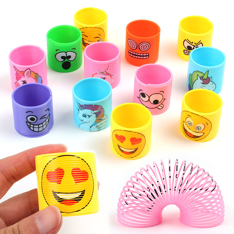 12 Pcs/Lot Rainbow Circle Magic Toys Children Development Educational Toys Folding Plastic Spring Coil Kids Magical Toys