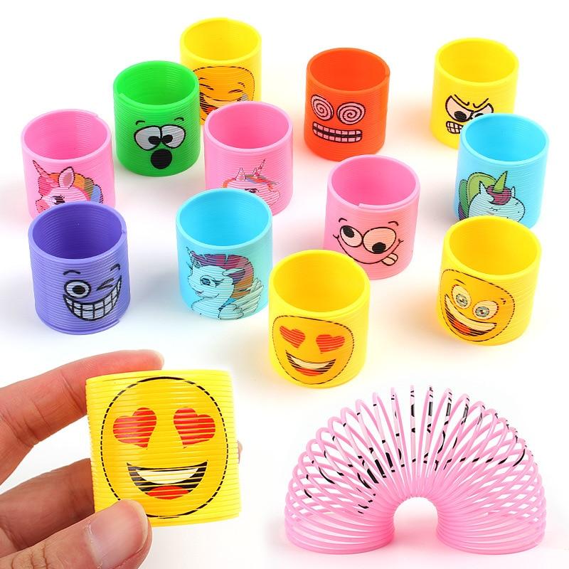 12 Pcs/Lot Rainbow Circle Magic Toys Children Development Educational Toys Folding Plastic Spring Coil Kids Magical Toys