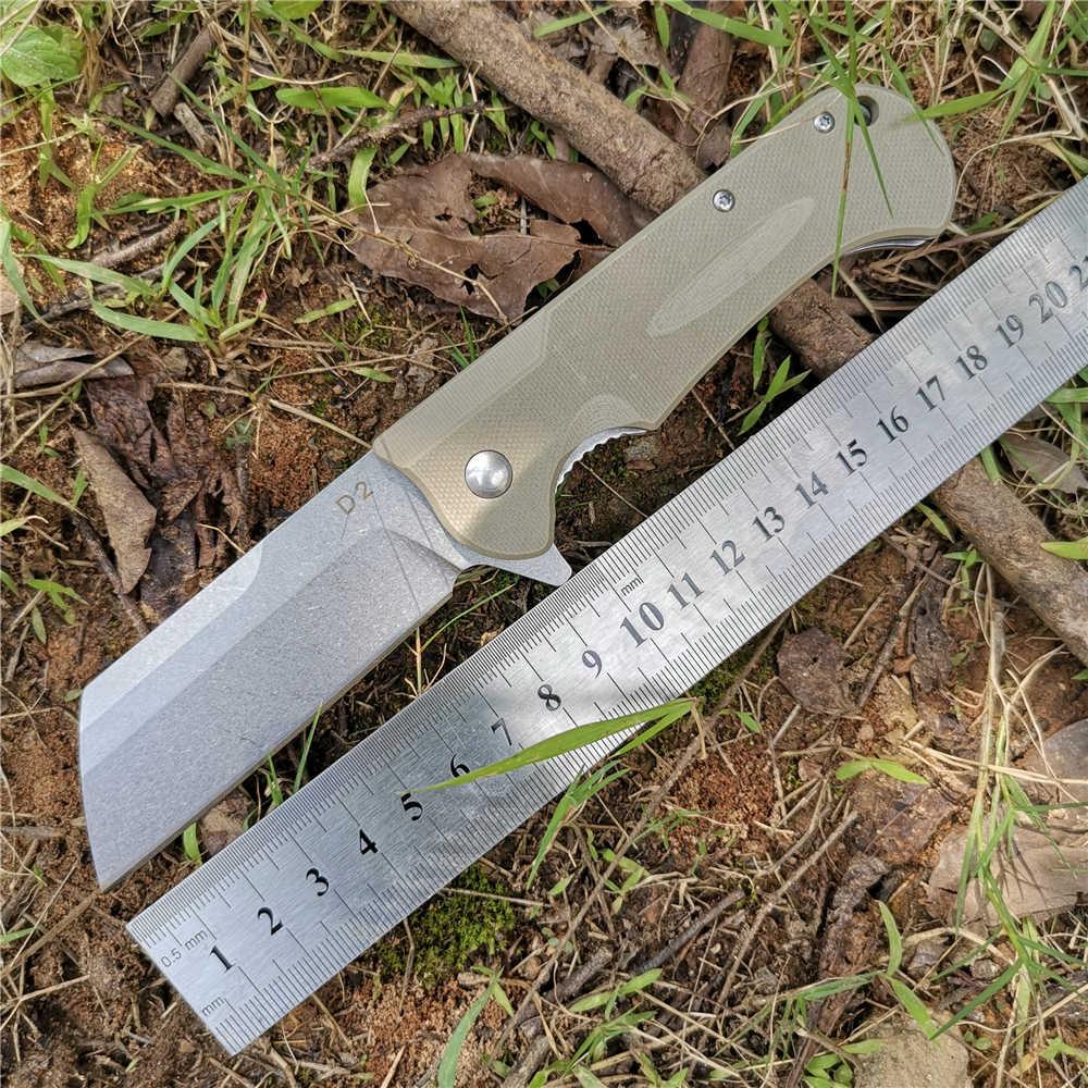Vouwen Mes As Systeem D2 Staal Blade + G10 Handvat Zakmessen Goede Jacht Camping Survival Outdoor Alledaagse Carry