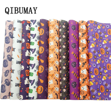 QIBUMAY Halloween Vinyl Fabric PU Leather Sheets DIY Bow Material Printed Faux for Bows 22*30cm Synthetic