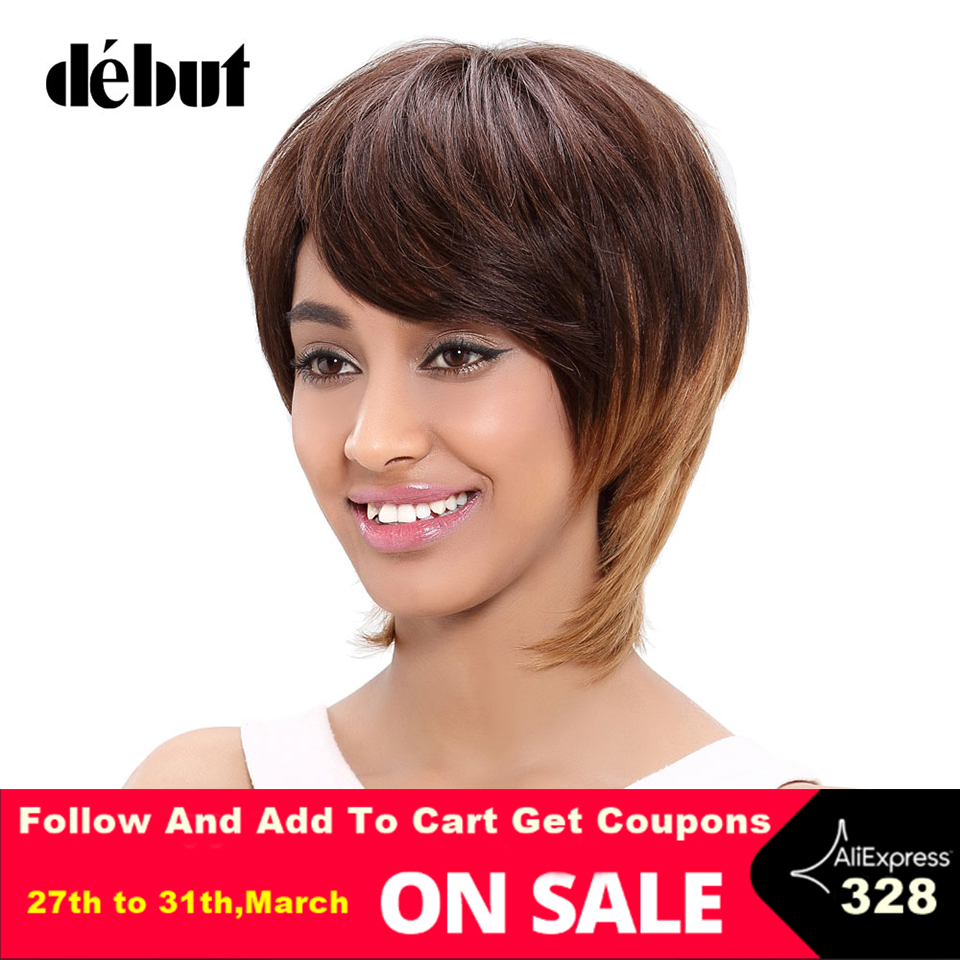 Debut Remy Brazilian Hair Short Human Hair Wigs For Women Blond Color Short Wigs Ladies Straight Cheep Hair Wigs For Black Women
