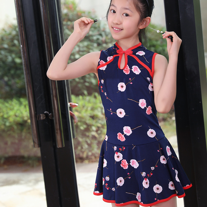 Chinese-style One-piece Swimming Suit 6-9-Year-Old GIRL'S Swimsuit Cheongsam Style Printed Children Siamese Swimsuit