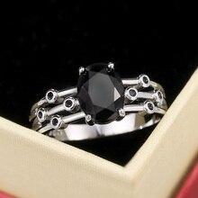 Женские кольца Huitan в стиле панк с черным овальным камнем, крутые Индивидуальные Кольца с тремя рядами танцевальных вечевечерние, модные аксессуары, Подарок на годовщину девушке