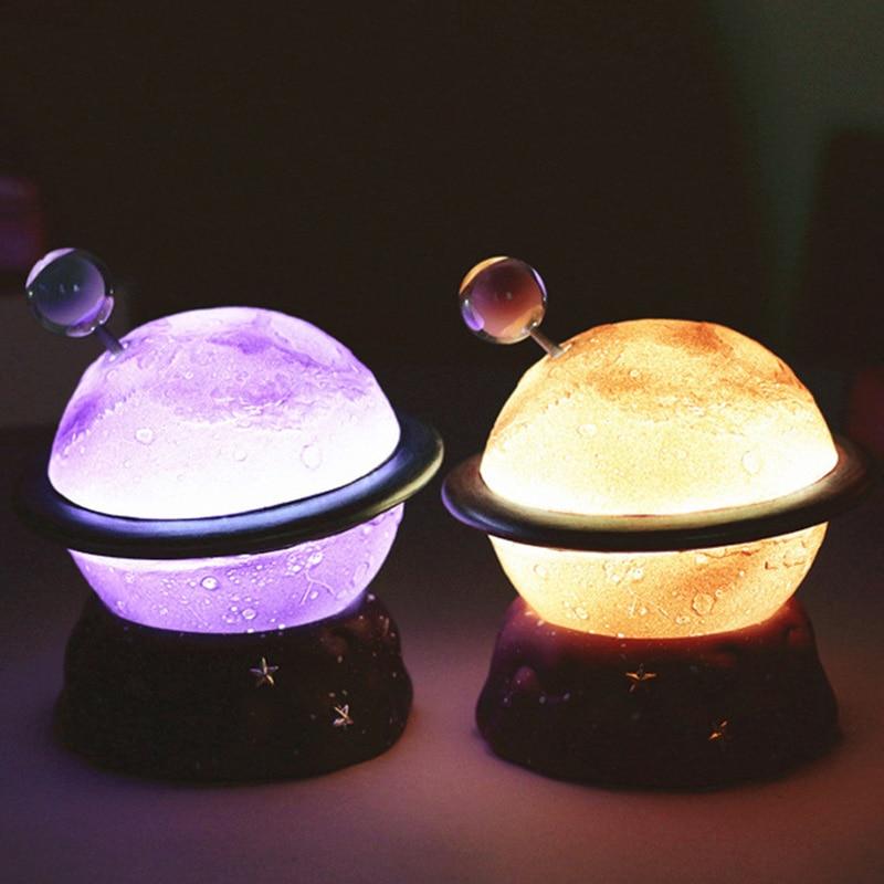 Resin LED Planet Novetly Lighting Creative Star Night Light Christmas Bedroom Decoration Children For Gift Table Moon Lamp