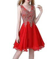 2019 new luckgirls Red new fablic neckknee length beauty Party Homecoming Dresses