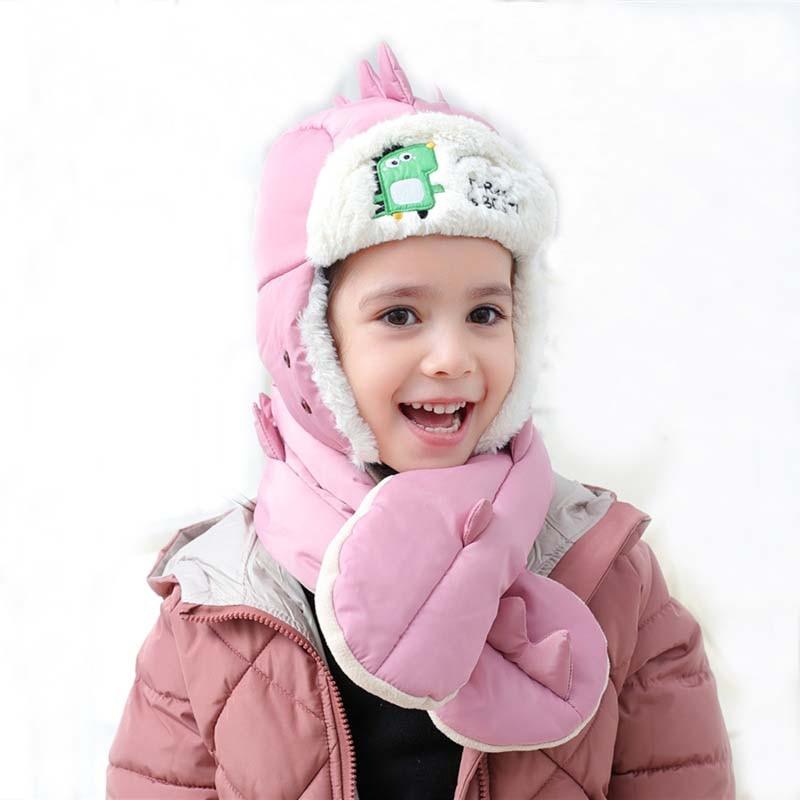 Doitbest 3 To 10 Years Old Kids Beanie Dinosaur Kid Boys Warm Hats Winter 2 Pcs Fur Baby Girls Winter Hat Mask Scarf Set