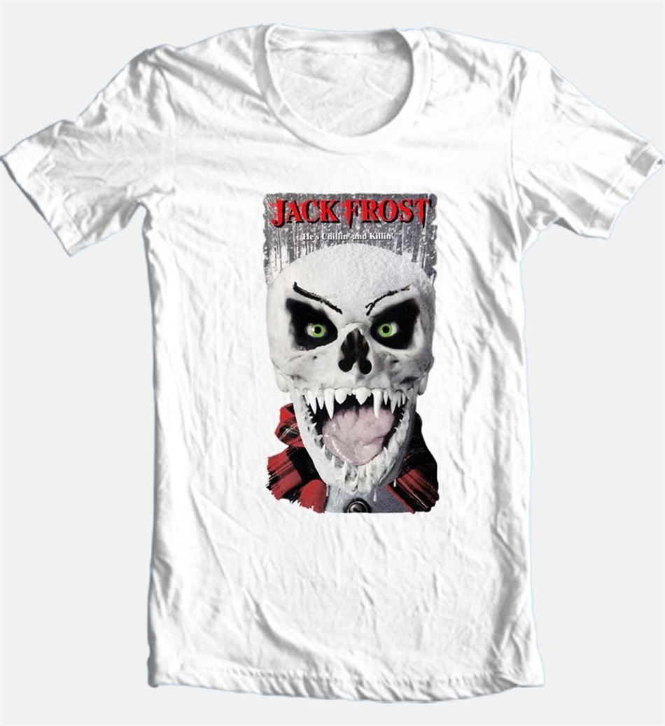 Jack Frost T-Shirt retro horror slasher movie cotton white Printed Funny Design Tee Shirt image