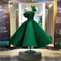Verngo-vestido de noche de Arabia Saudita, nuevo diseño, verde, tablas de satén, vestidos cortos de fiesta, largo, para ocasión especial, 2021