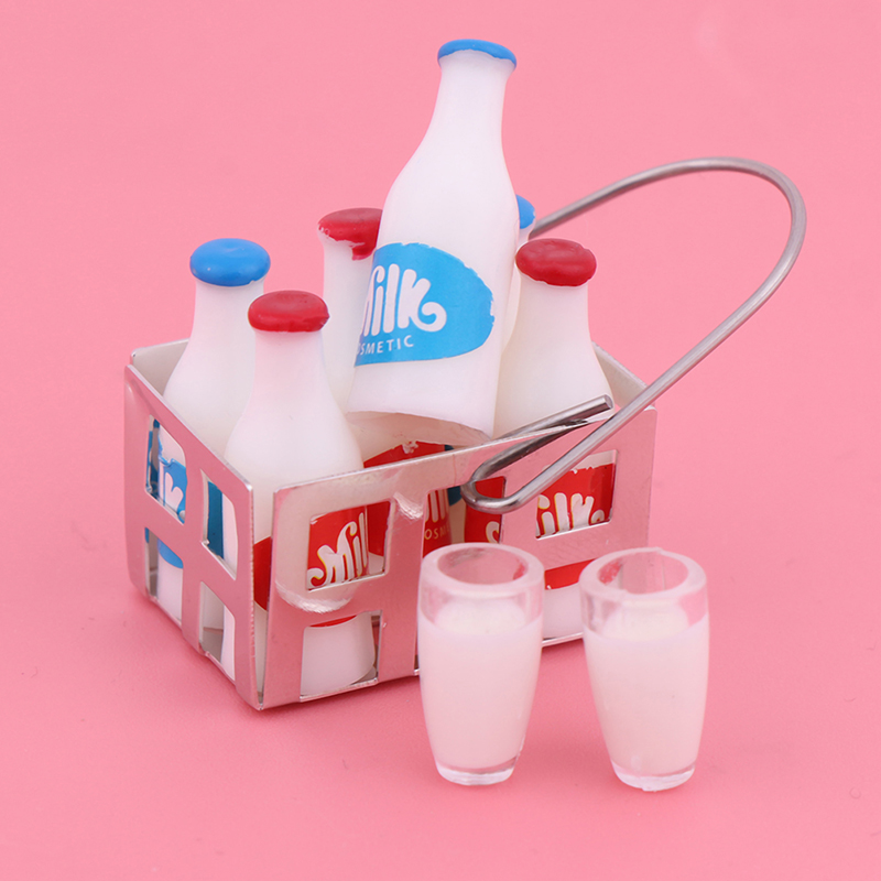 9Pcs/Set Kwaii Kids Toys 1/12 Scale White Milk Basket And Milk Bottle Doll House Food Furniture Toys Miniature Doll House Toy