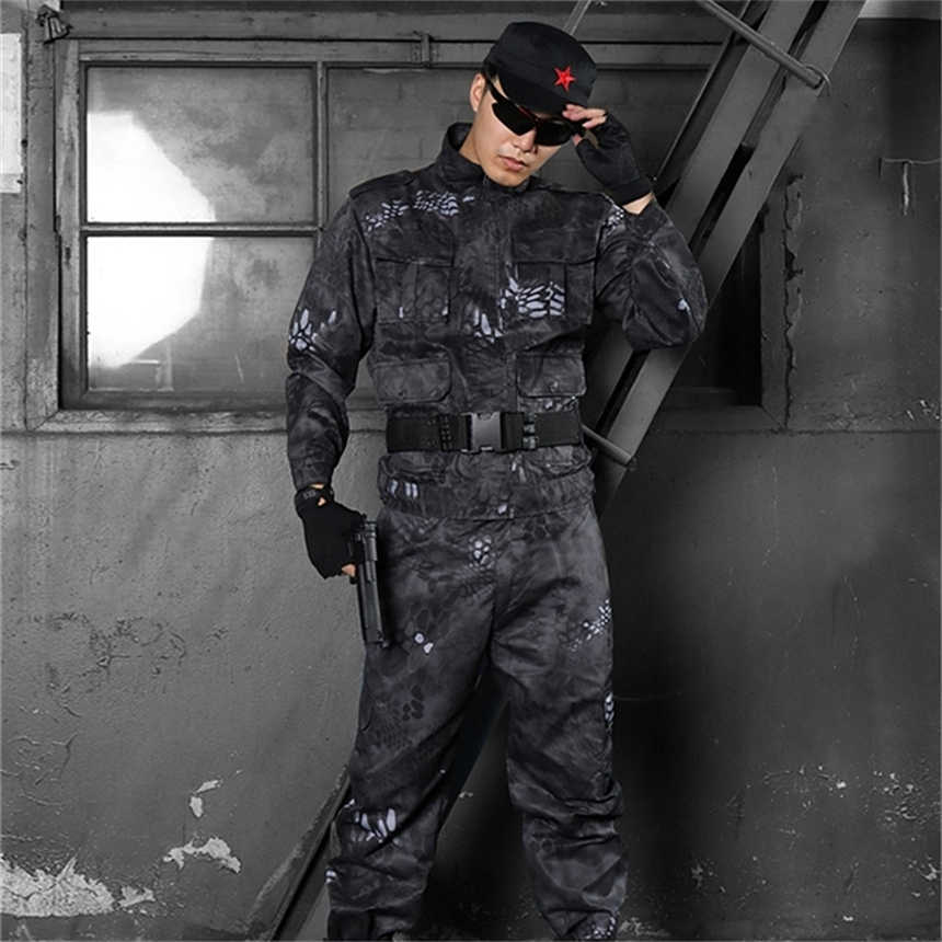 Mannen Army Tactical Combat Kleding Militaire Uniform Militar Soldaat Special Forces Camouflage Uniformen Outdoor Werkkleding Set
