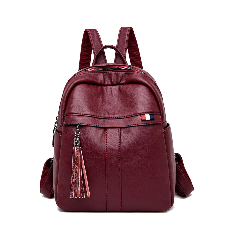 Ladies' shoulder bags, leather, fashion, sheepskin, tassel, leisure, student backpacks, simple hundred bags, Solid Softback