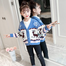 Girls Cardigan Sweater with Deer Christmas New Year Fashion Winter Cartoon Teens Girl High Quality Pullover
