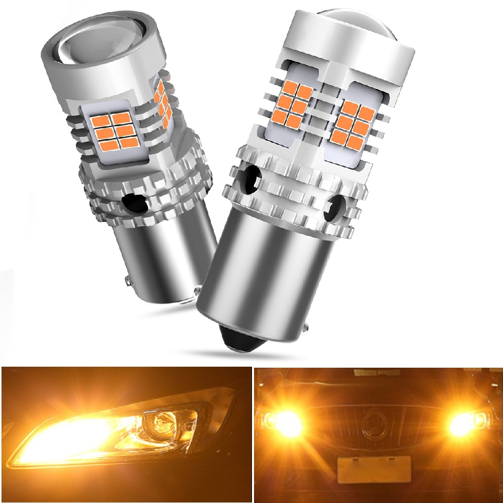 2x Car 1156 BA15S P21W <font><b>LED</b></font> No Hyper Flash Amber Yellow 26 SMD 3020 <font><b>LED</b></font> 7507 BAU15S <font><b>LED</b></font> Bulbs Turn Signal Lights <font><b>Canbus</b></font> For Benz image