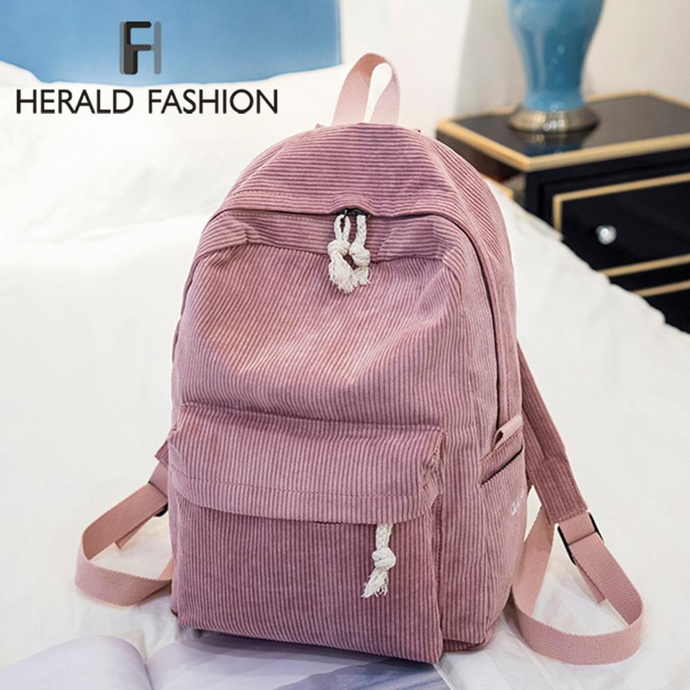 Herald Fashion Preppy Fabric Backpack Female Velvet Design Collage School Backpack For Teenage Girl Striped Backpack Women