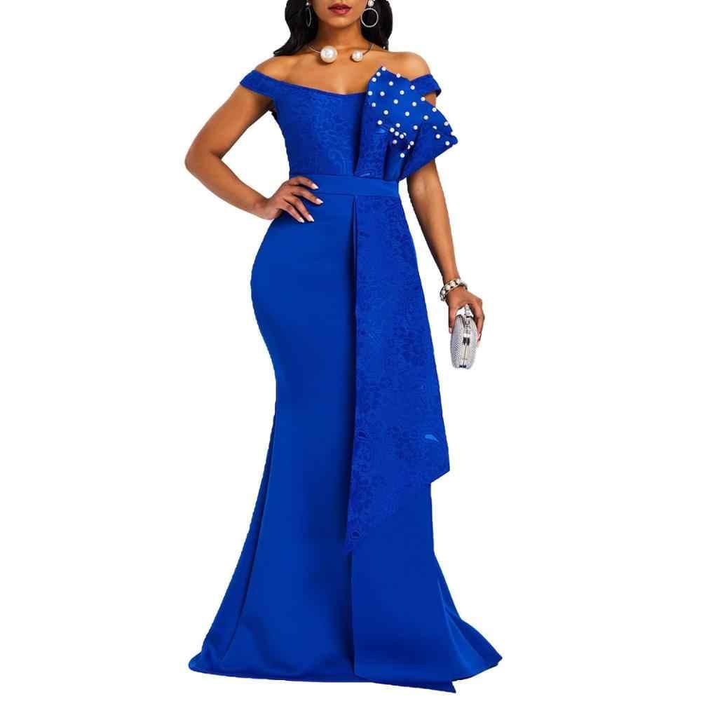ארוך שמלת נשים אלגנטי בתוספת גודל בת ים לקיר Robe ערב חתונה גברת שמלות מקסי שמלת 2019 חדש סקסי שמלה