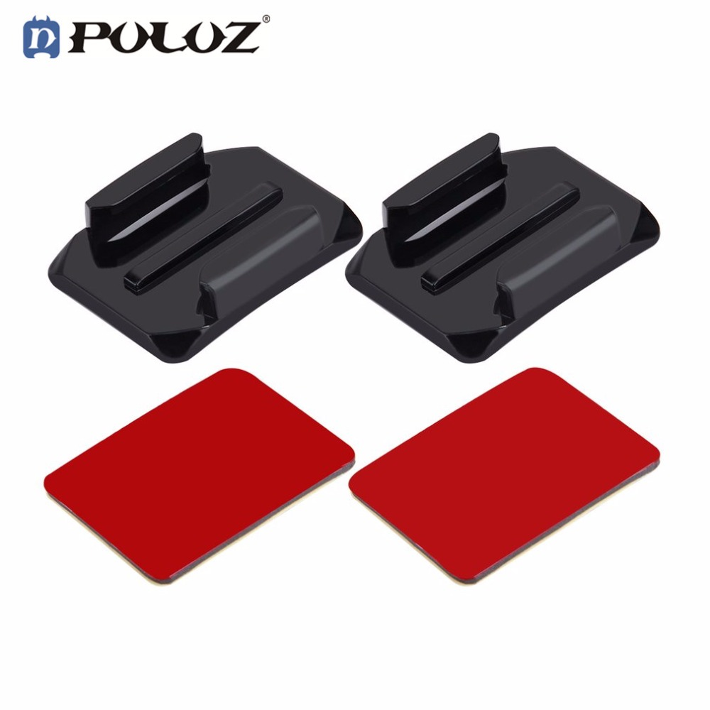 PULUZ Action Camera Accessories 2 Curved Surface Mounts With 2 Adhesive Mount Stickers Fixed For GoPro Base Parts
