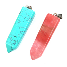 4 Colors Natural Stone Pendants Fashion Geometric Crystal Agates Necklace Pendant for Jewelry Making Good Quality Size 15mmx53mm