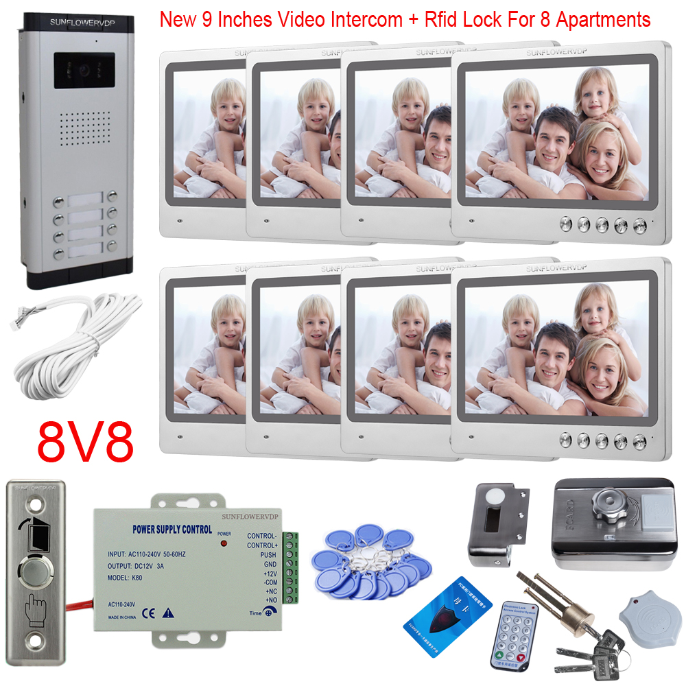"""9"""" Interphone With Camera 8/10/12 Multi Apartments Door Phone With Rfid Cards Electronic Door Lock Home Security System Unit"""