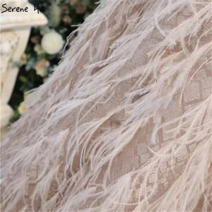 Image 5 - ピンク V ネックのセクシーな羽サッシイブニングドレス 2020 ノースリーブ A ライン足首までの長さドレス穏やかな丘 LA70367