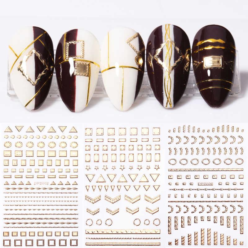 3D Adesivi Per Unghie In Metallo Oro Argento Nero Geometrico Del Fiore Modelli di Trasferimento Adesivo Decalcomanie Unghie Artistiche di Design Fai Da Te Strumenti di Decorazione