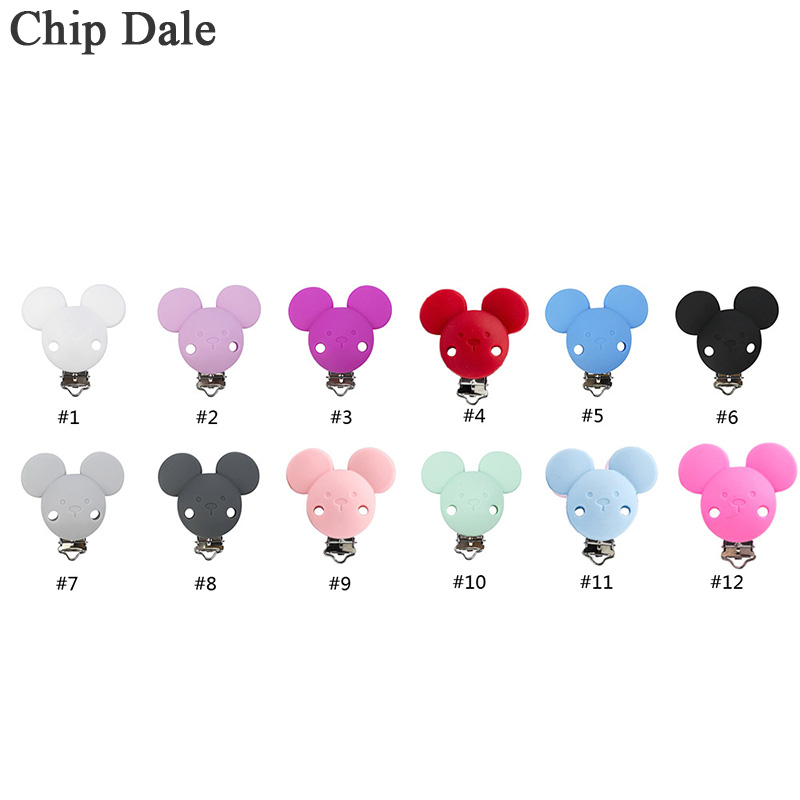 1pcs Silicone Pacifier Clip For Nipple Infant Baby Mickey Shape Pacifier Holder Metal Dummy Clips Chains