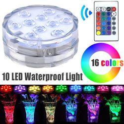 Погружной светильник RGB с дистанционным управлением, 10 светодиодов, подводный Ночной светильник с питанием от батареек, уличная ваза, вечер...