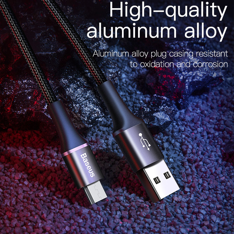 Baseus Micro USB Cable 2A 3A Fast Charging Charger With LED Lighting Mini usb Cable 3M For Xiaomi Android Mobile Phone Wire Cord 3