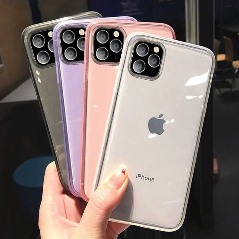 Lovebay Transparent Lovely Phone Case For iPhone 11 Pro X XR XS Max 6 6s 7 8 Plus Candy Color Simple Soft TPU Back Cover Coques