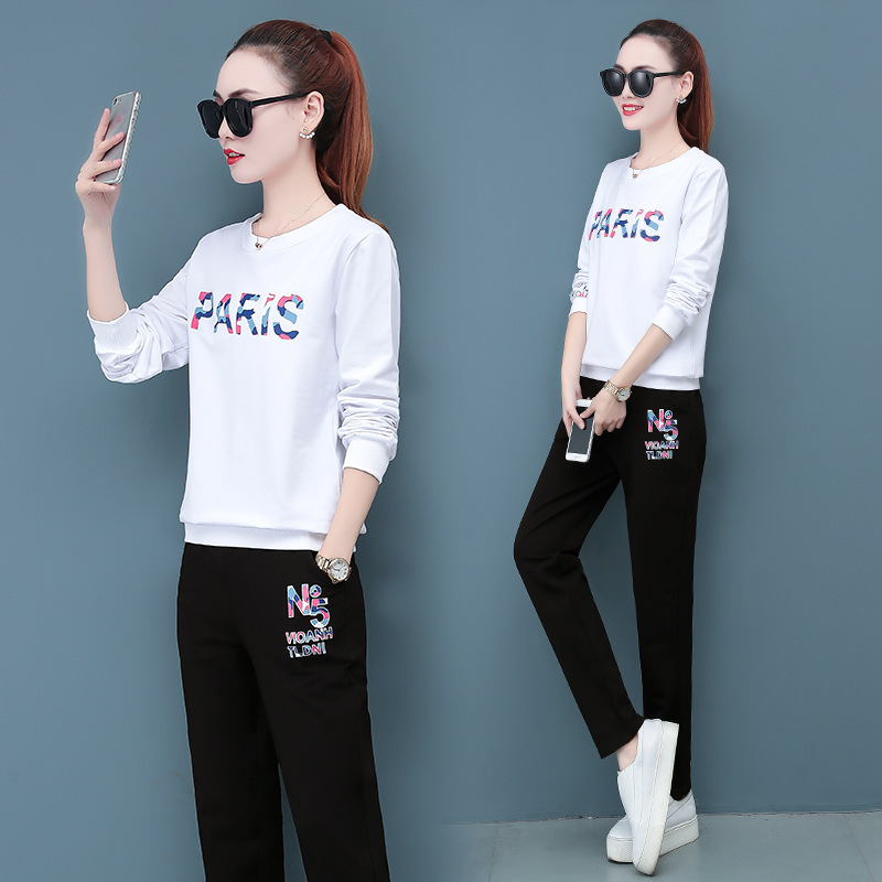 2019 Spring And Autumn New Style Korean-style WOMEN'S Wear Lettered Round Neck Sweater Casual Sports Clothing Two-Piece Women's