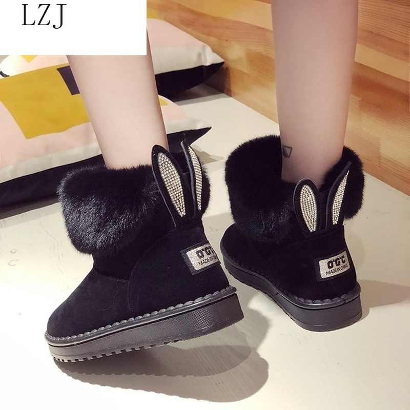 Kadın botları marka kış ayakkabı sıcak siyah yuvarlak ayak rahat artı boyutu kadın kar botları