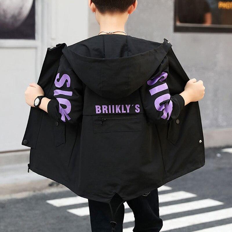 Осенний Тренч на молнии для мальчиков и девочек, длинная куртка с вышивкой и надписями, Детская куртка с вышивкой, верхняя одежда для подростков|Тренч| | АлиЭкспресс