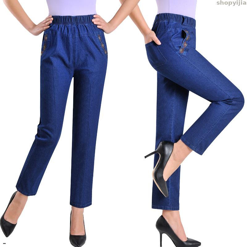 New Embroidery Nine Denim Pants Slim High Waist 5XL Jeans Female Spring Summer Elasticity Casual Women Pants Plus Size