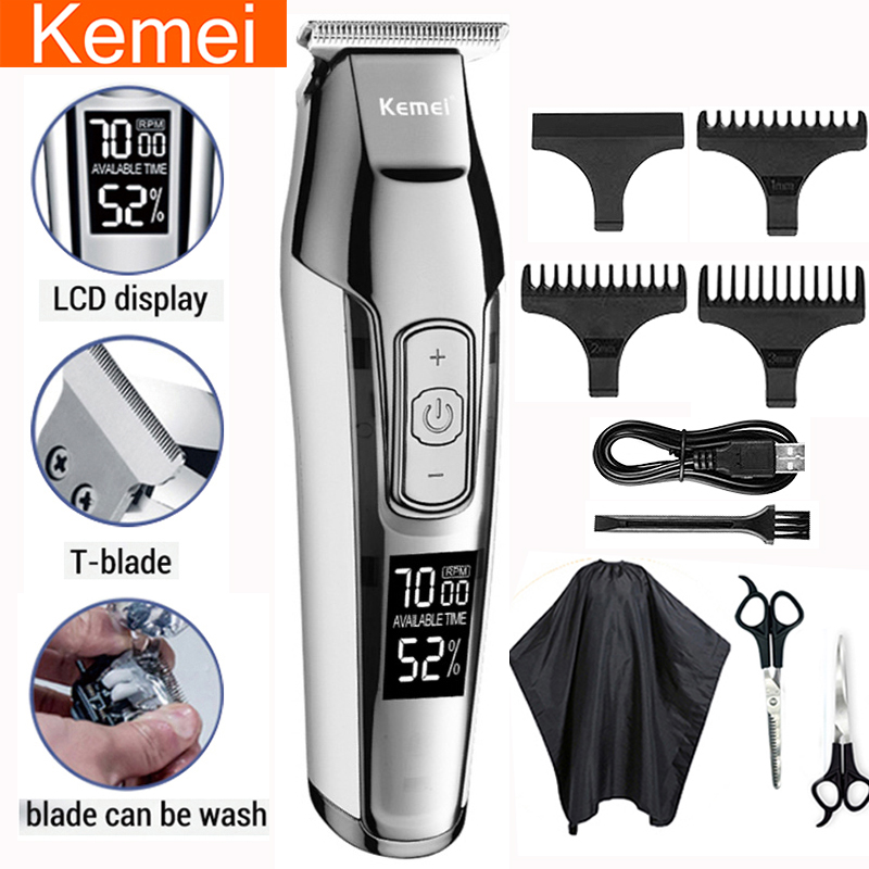 kemei profession hair clipper beard trimmer for men electric men's shaver LCD 0mm Hair cutting trimmer machine chargeable Razor