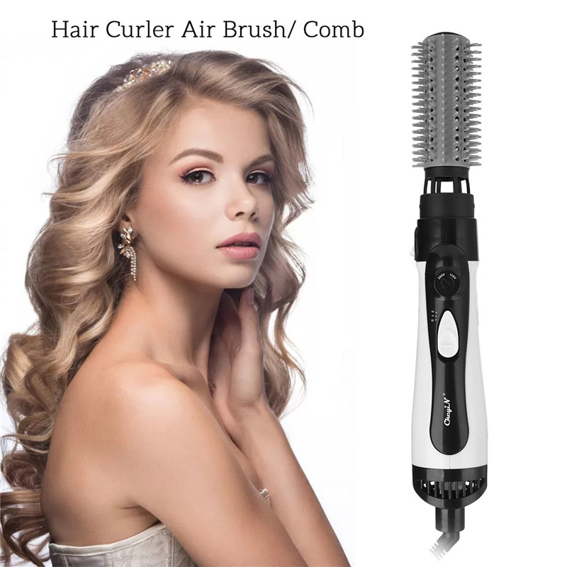 CkeyiN 2 in 1 Professional Electric Hair Dryer Brush Curler Comb Hair Straightner Styling Tool Hairdryer Curling Blower Dryer