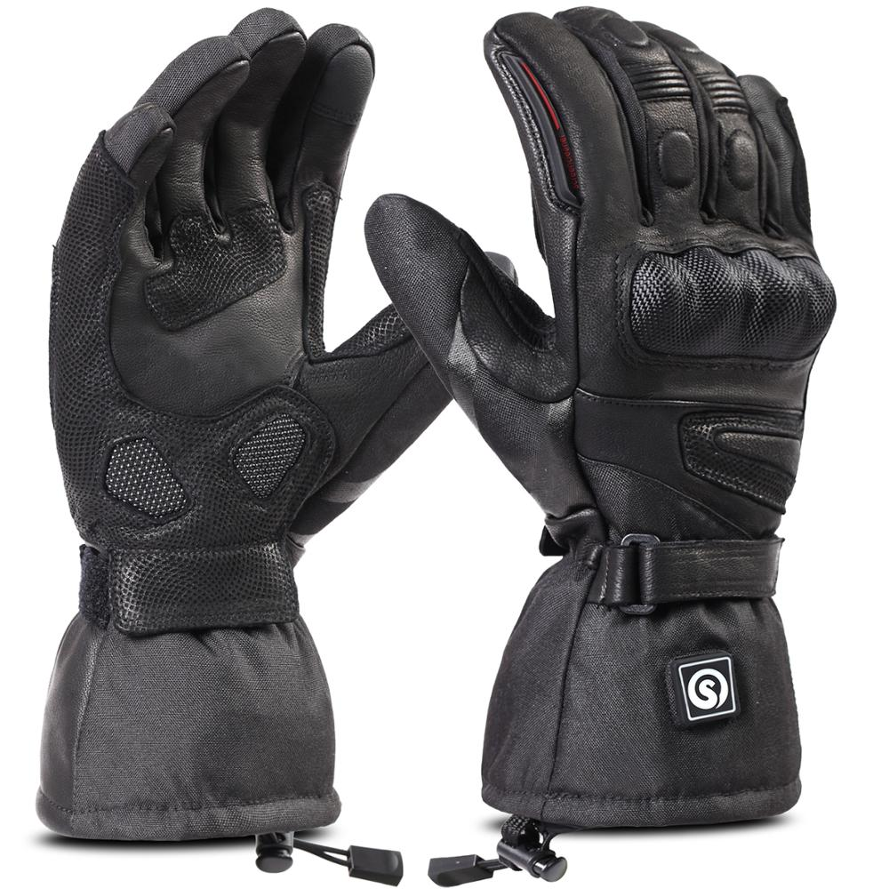 Black Leather Motorcycle Winter Gloves Motorcycle Gauntlet Gloves XS-3XL
