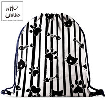 Backpack Shoes Drawstring-Bag 3d-Printing Fashion Women Cat Who Gift Cares Outdoor Portable
