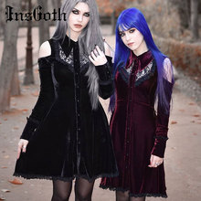 цена InsGoth Women Black Lace Mini Party Dress Gothic Punk Sexy Hollow Out Dress Halloween Party Off Shoulder Elegant Female Dresses