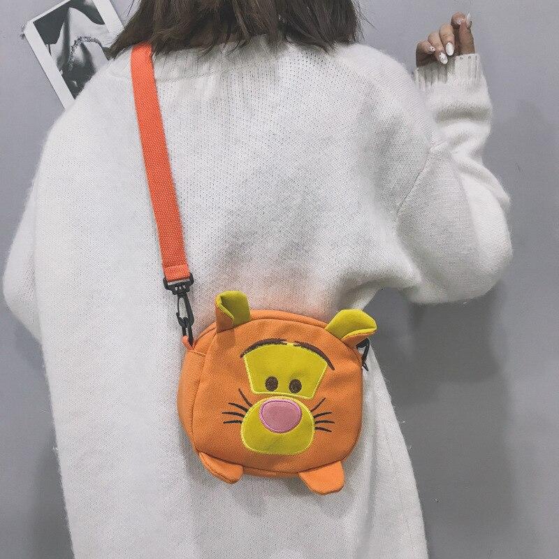 Disney Funny Bag Female Animal Shape New Casual Messenger Bag Cartoon Shoulder Bag Pooh Canvas Bag Cute Girl