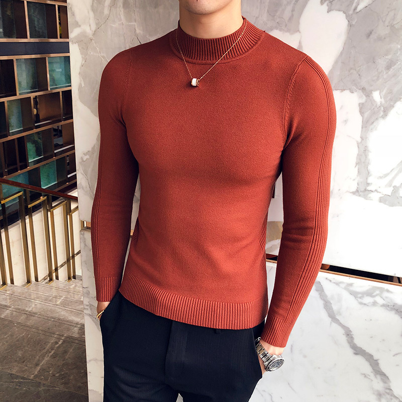 Casual Sweaters Knitwear 2019 Autumn New Men's Turtleneck Sweaters Male Black Gray Sexy Slim Fit Knitted Pullovers Solid Color