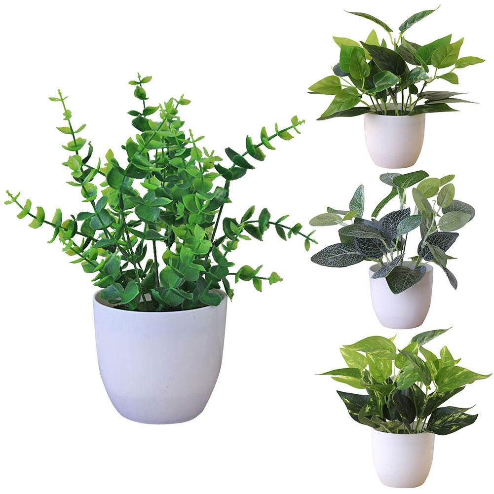 Fresh Artificial Foliage Plant Potted Bonsai Wedding Party Mall Desktop Decor With Basin
