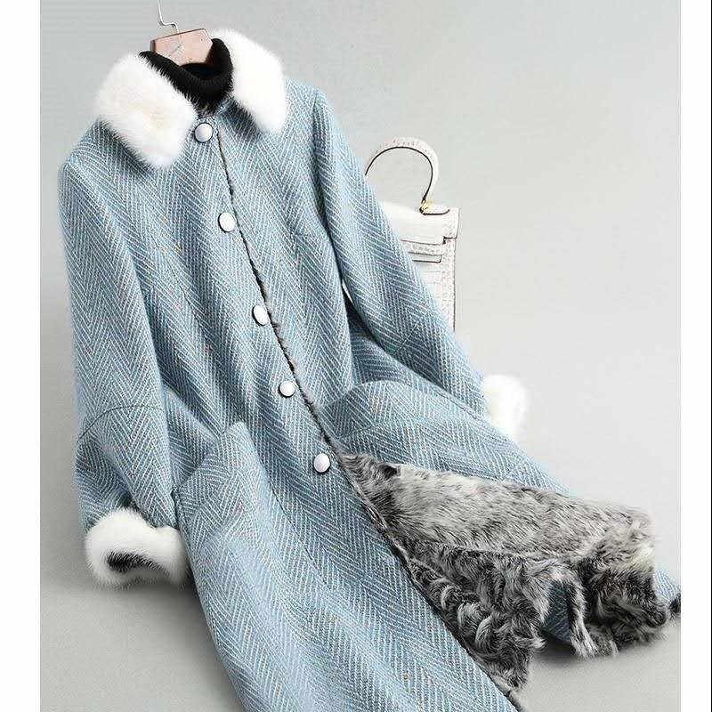 2019 Musim Gugur Musim Dingin Wanita Nyata/Asli Geser Domba Mantel Bulu Tebal Hangat Wol Mantel Bulu Kantor Wanita Panjang jaket Lebih Tahan Dr A76