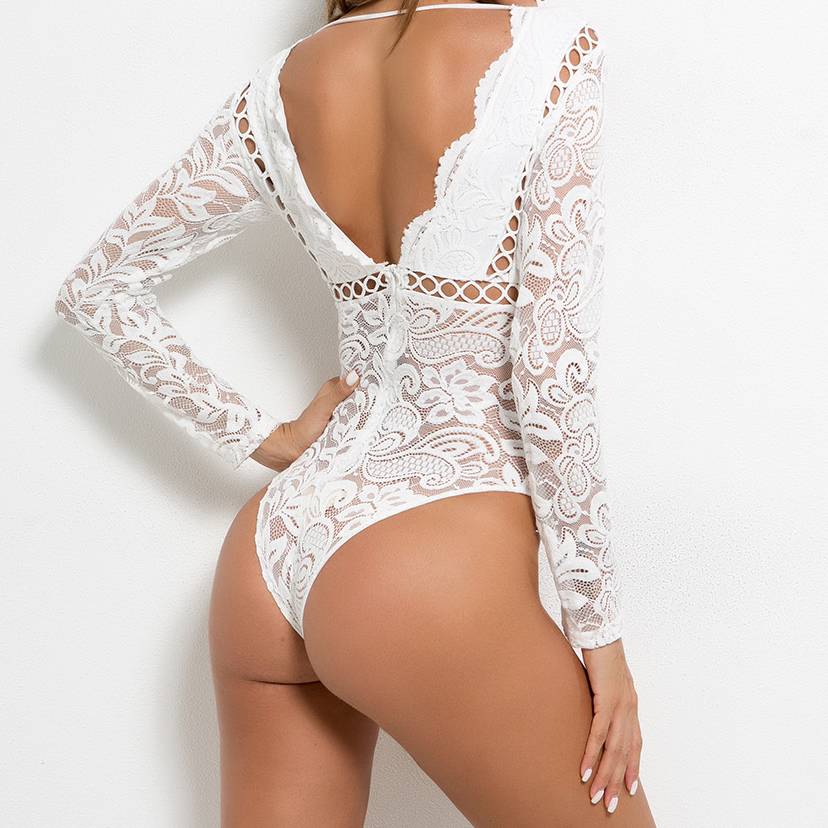 Femme Rompers Summer Body Backless Long Sleeve Skinny Sexy Femme Hollow Out Tops Party Women Black White Lace Bodysuits M0590