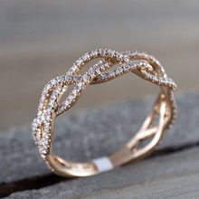 Hot Sale Fashion Rose Gold Princess Tiara Alluring Brilliant Rings With Crystal For Women Wedding Party Gift Fine Jewelry Gifts(China)