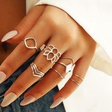 8 шт/компл винтажное серебряное геометрическое кольцо наборы