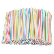 200pcs Plastic Drinking Straws 8 Inches Long Multi-Colored Striped Bedable Disposable Straws Party Multi Colored Rainbow Straw