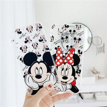 Mickey Mouse Mobile Phone Case Disney Minnie Transparent TPU Phone Cover Cute Cartoon Apple Shell fo